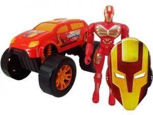 Boneco Super Escudeiro de Ferro com Carro e Máscara